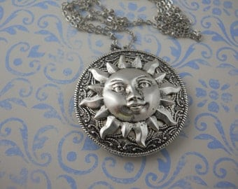 Large Silver Sun Locket on Silver Chain Handmade Locket Ocean Beach Solar Planet Jewelry Statement Necklace Sun Face Rays Memories Keepsake