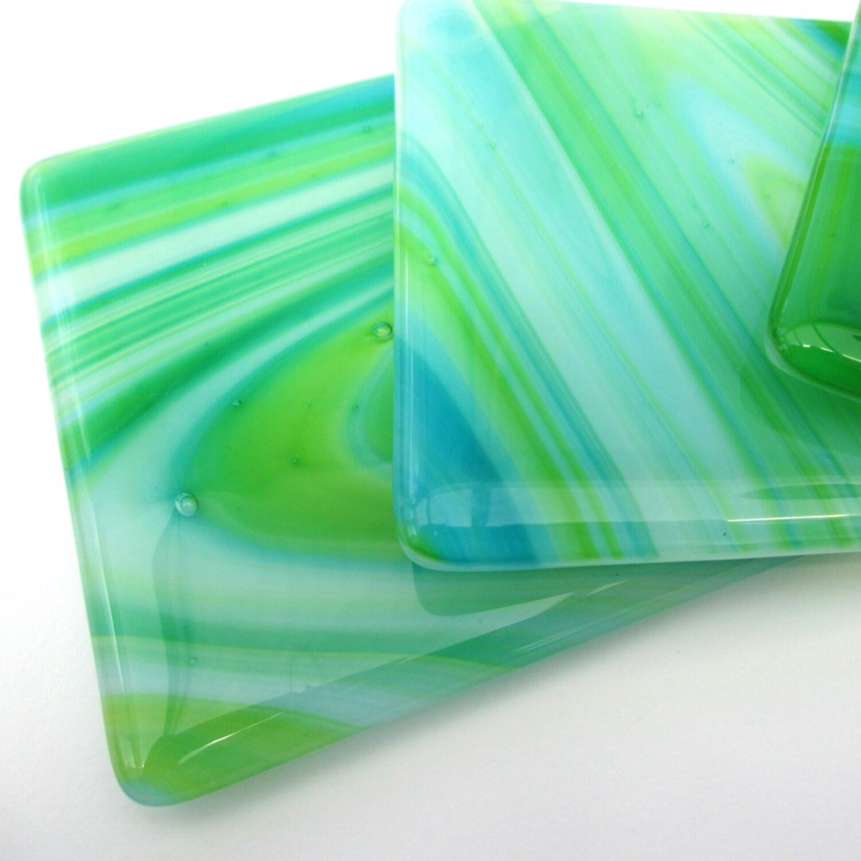Green And Blue Glass Coaster Handmade Drinks Mat Bar