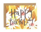 Happy Birthday Daisies Illustrated Card//1canoe1