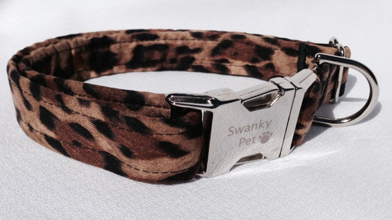 Stylish Leopard Print Dog Collar by Swanky Pet