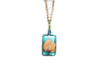 Organic Yellow Rosebud in Blue Resin Rectangle Pendant with Beaded Bail and Necklace Mom Sister Friend Prom Wedding Summer Fashion