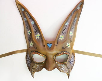 READY TO SHIP Leather Rabbit Mask  Sugar Skull inspired Halloween costume Art decor