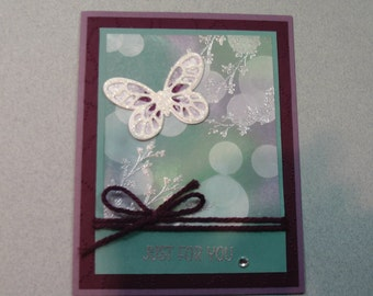 "Stampin"" Up Handmade any Occasion card, Just For You"""