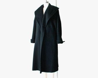 1950's Black Wool Open Front Swing Coat