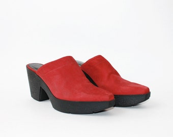 SALE - 1990's Robert Clergerie Red Leather Clogs Platforms