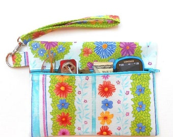Light Blue Wristlet, Cell Phone Wristlet, Zipper Floral Phone Clutch, Front Zippered Makeup or Camera Pouch, Womans Small Wrist Purse Wallet