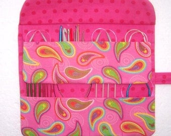 Pink Paisley Circular Needle Case, Double Pointed Needle DPN Storage, Crochet Hook Roll, Artist Supply Organizer, Pink Makeup Brush Case