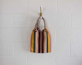 1940s purse / Boho Vintage 40's Striped Woven Bag