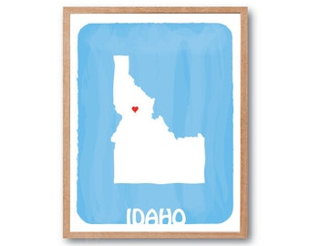 IDAHO Map - BLACK - Personalized Custom Color Watercolor Style Love State Map Wedding Birthday Anniversary GIft Children Wall Art