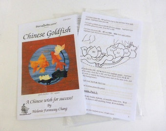 Chinese Goldfish  Quilt Pattern Story Quilts Goldfish Quilt Wall Hanging Pillow Top Table Linen Quilt Block Melanie Forway Chang Pattern