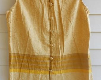 Vtg 90s Husked Simple Mustard Duffle Normcore Indie Minimalist Lagenlook Flax Sleeveless Vest Hobo Boho Dress Tunic Jumper Jacket Top Shirt