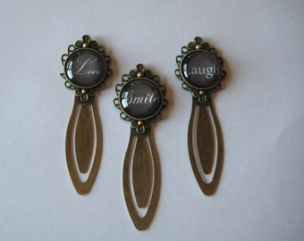 Love OR Smile OR Laugh  Antiqued Bronze Clip Style Bookmark