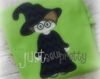 Cute Little Witch Warlock Boy Halloween Embroidery Applique Design