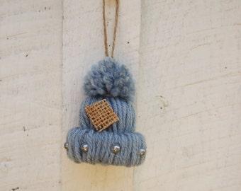 Christmas Ornament  Yarn Handmade Hat Ski Cap Miniature Single dusty blue