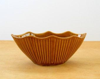 Vintage Brown MCP Planter • Vintage Ribbed Oblong McCoy Planter • 1960s American Pottery Planter