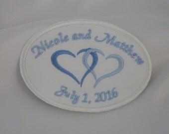 Wedding Dress Label.Wedding Dress Labels.Wedding Dress Patch.Something Blue Wedding Patch.Two Heart Dress Label.