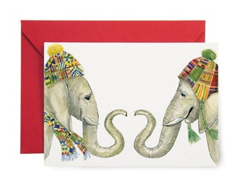 Festive Winter Elephants Holiday Card - Illustrated Winter, Seasonal, Happy Holidays, Christmas Card