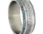 Titanium Ring with Black and Blue Cobalt Mokume and Antler for hraewalters
