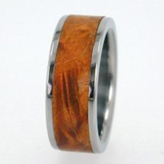 Wooden Ring - Golden Box Elder Burl Wood Inlay IR
