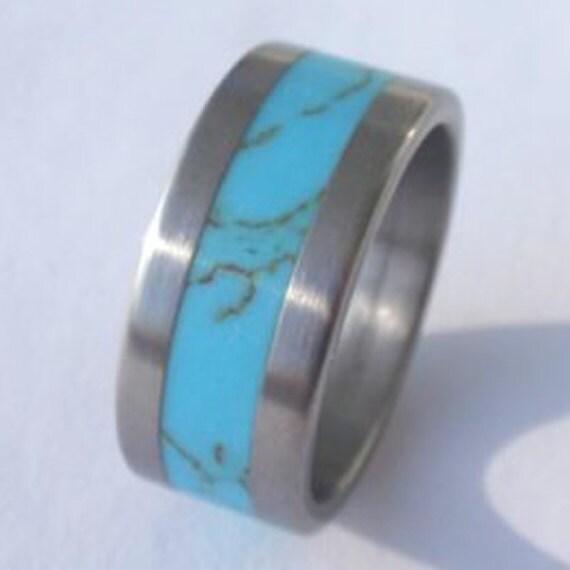 Turquoise Wedding Ring, Men's Wedding Ring, Women's or Mens Wedding Ring, Titanium Wedding Ring