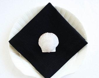 Back to School SALE Organic Cotton Napkins, Eco Friendly Cloth Napkins, Reusable - Black, Set of Four