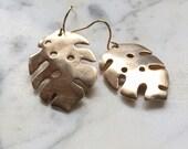 monstera leaf bronze earrings