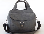 Sale - Water Resistant Nylon Bag - Messenger, Diaper, Tote, Purse, 3 compartments, Cross body - GINA
