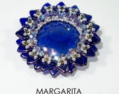 MARGARITE Fancy Cabochon  Beadwork Pendant Tutorial  instructions for personal use only