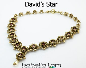 David's Star Beadwork Necklace Pdf tutorial instructions for personal use only