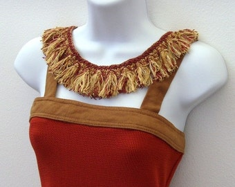 Florida in Autumn Dress & Textile Necklace / Pumpkin - Orange, Brown, Cinnamon Spice Fall Fashion / Upcycled OOAK Fashion / Gift Under 100