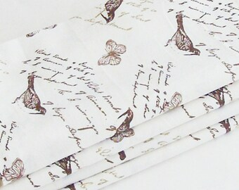 Butterflies and Birds Napkins / Antique Litho Images - Antique Nature Text / Cream, Beige, Brown / Set of 4 / Unique Gift Under 50