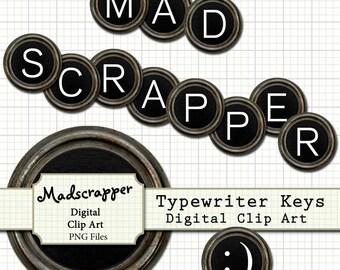 Black and White Typewriter Keys Digital Clip Art