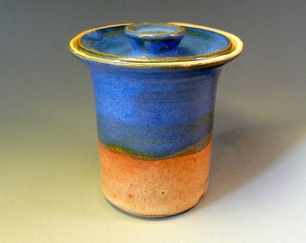 Stoneware sugar jar, Lidded storage jar, bright blue and brown, handmade pottery canister