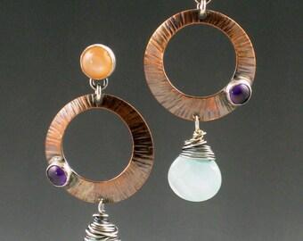 Peach Moonstone Amethyst Blue Chalcedony Earrings, mixed metal, dangle earrings, copper, sterling silver, peach purple blue, boho, bohemian