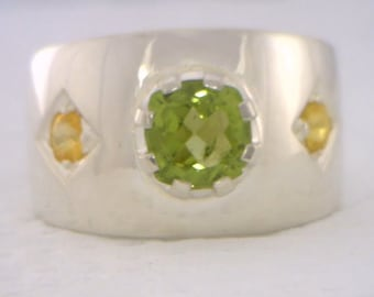 Green Peridot and Yellow Sapphire Handmade Sterling Silver Gents Ring size 10.5