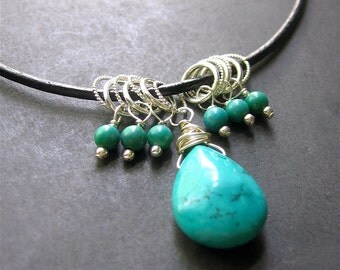 Turquoise Necklace, Turquoise Leather Necklace, Southwest Necklace