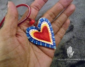 Reversible Paper Clay Red Multi Heart Pendant
