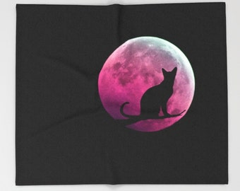 Cat and Pink Moon Throw Blanket, Surreal Super Soft Blanket, Contemporary Blanket, Home Decor, Dorm, Cozy, Warm, Kitty, Christmas Gift