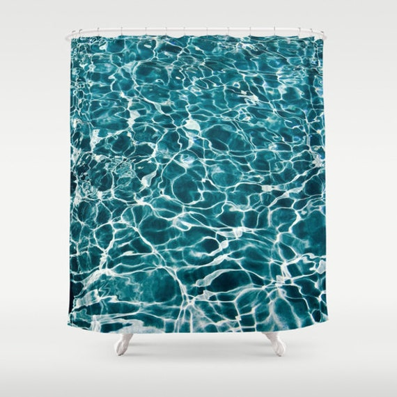 POOL Shower Curtain, Water Shower Curtain, Bathroom, Aqua Blue Home Decor, Nautical Shower Curtain, Nature Shower Curtain, Surf, Tropical