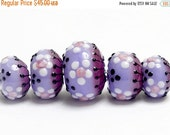 ON SALE 30% OFF New! Glass Lampwork Beads - 10605111 Five Purple Blossom Graduated Rondelle Beads