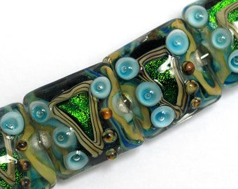 NEW! Four Mirage Lake Pillow Beads 10508314 - Handmade Glass Lampwork Beads