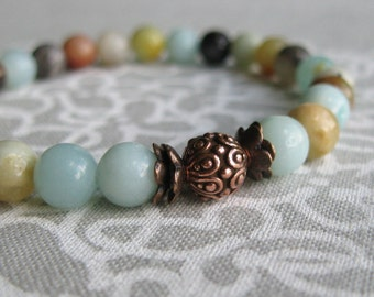 Flower Amazonite and Antique Copper Stretch Bracelet