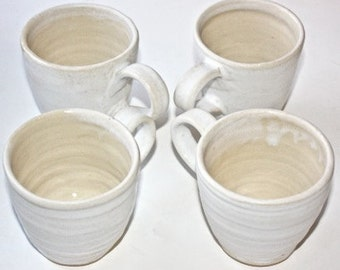 Handmade  Mugs Set of Four Stoney White  Pair Each Cup Holds One Cup  for Coffee or Tea