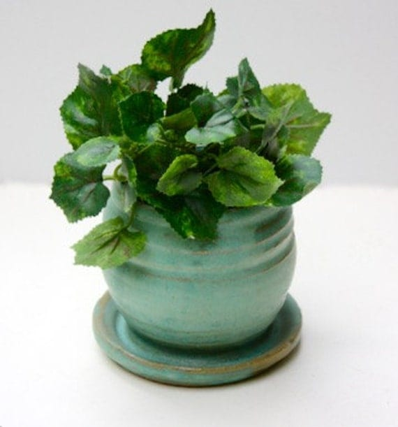 Cerulean  Blue Planter Stoneware Miniature Pot  Four Inches Tall for Small House plant or cactus