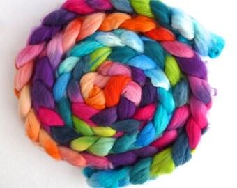 Tour de Fleece Colorway, Superwash Merino/ Nylon Roving (Top) - Handpainted Spinning or Felting Fiber, Summer Jubilee