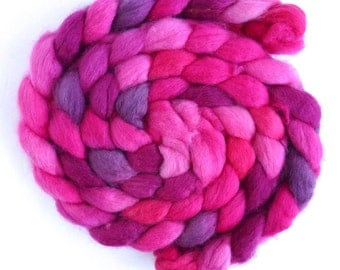 BFL Wool Roving - Hand Painted Spinning or Felting Fiber, Fuchsia