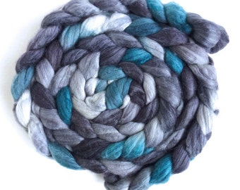 Merino/ Superwash Merino/ Silk Roving (Top) - Handpainted Spinning or Felting Fiber, Grey and Teal