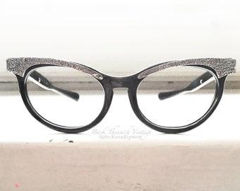 50's American Optical USA Cat Eye Sunglasses Frames Black Aluminum Hornrim Small Petite Eyeglasses  Back Thennish Vintage