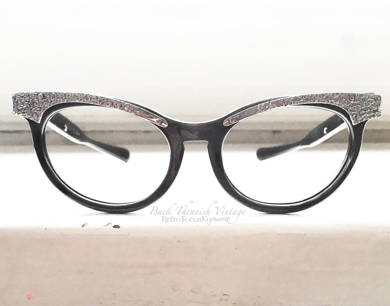 Glasses Frame Made In Usa : 50s American Optical USA Cat Eye Sunglasses Frames Black