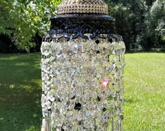 Jewel Encrusted Glam Petite Crystal Chandelier, Black Chandelier, Silver Crystal Chandelier, Home Decor, Vintage Lighting